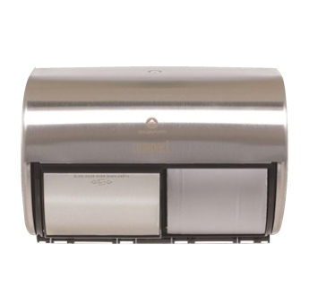 Compact Stainless Side-By-Side Double Roll Toilet Paper Dispenser