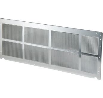 Aluminum exterior grille for a packaged terminal air conditioner